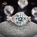 Peacock Star 3 Carat Created Diamond 925 Sterling Silver Wedding Engagement Luxury Ring  Promise Anniversary CFR8243