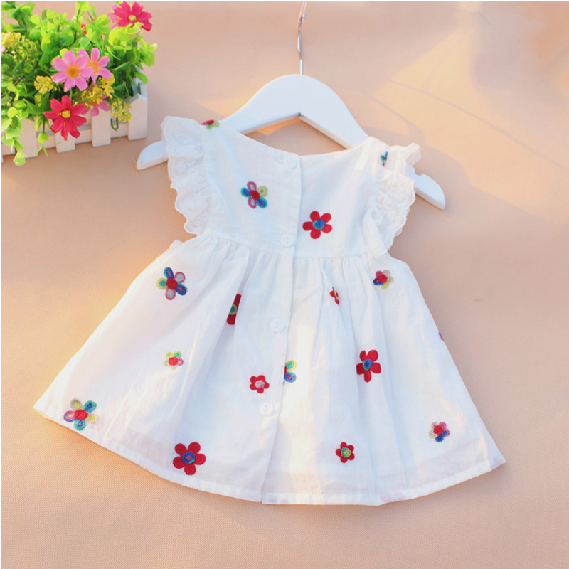 Cute Summer Baby Clothes Butterfly Sleeve Baby Girl Dress with Lining Embroidery Flower Strawberry Lace Dresses For Girls CQ23