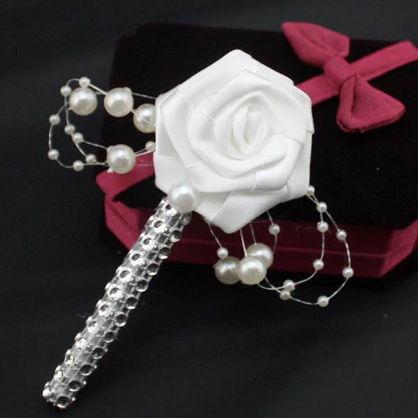 5Pcs/Lot Handmade Fabric Flower Groom Boutonniere White Ribbon Rose Wedding Corsage Party Prom Man Suit Brooch Cloth Accessories