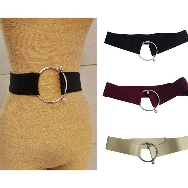 Nuevo cinturón de novedad para mujer bonito aspecto Simple plateado redondo  Metal O hebilla cinturones para bf0dc0492930