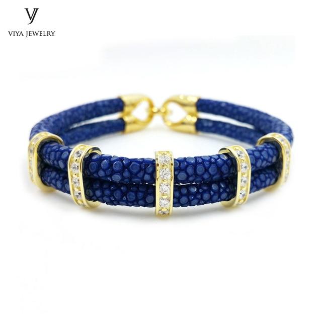 Luxury Unique 925 Sterling Silver Bracelet Genuine Navy Blue