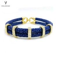 Luxury Unique 925 Sterling Silver Bracelet Genuine Navy Blue Stingray Leather Bracelet Man Gold Color Bracelets For Sports Men