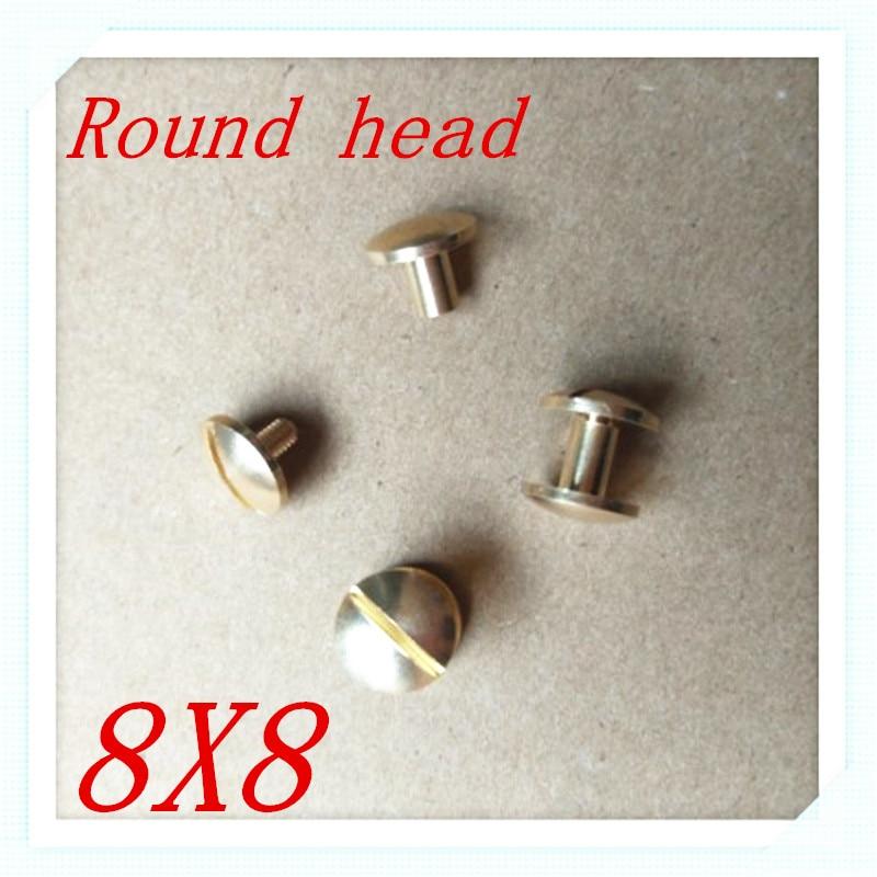 50 компл. 8*8 мм круглый носок Твердый латунный Чикаго Заклёпки шпильки винт Screwback для кожи Craft Сумки Обувь