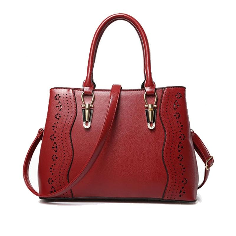 ФОТО Women Casual Tote Bags Pu Leather Handbags For Women Sac Fashion Hollow Shoulder Bag Female Messenger Bags