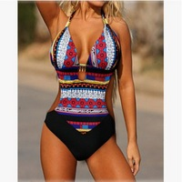 Cheap One Piece Swimsuits 2016 Europe And America Sexy Hot Models Hollow Digital Printing Women Piece