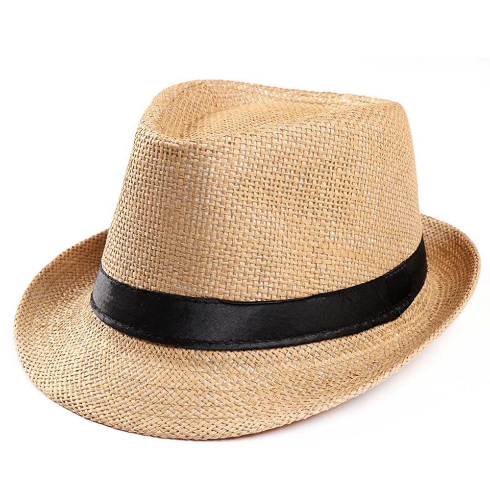 Hot  Gangster Cap Unisex Women Men Fashion Beach Sun Straw Summer Casual Trendy  Panama Jazz Hat Cowboy Fedora hat Casquette #LL(China)