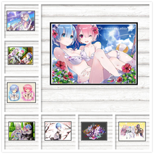 Re:Life in a different world from zero Coated paper Poster wall sticker Japanese anime Rem Emilia Ram 42*30cm(China)