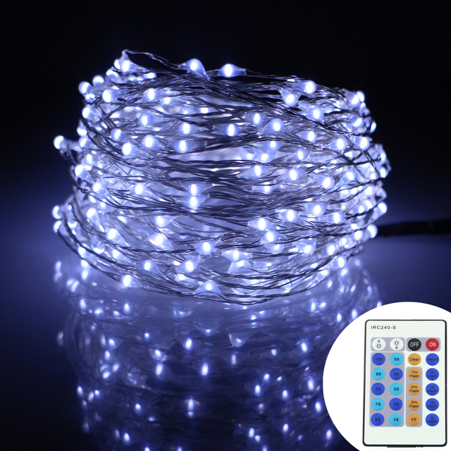 49Ft 15m 300Leds Silver Wire Warm White LED String Lights ...