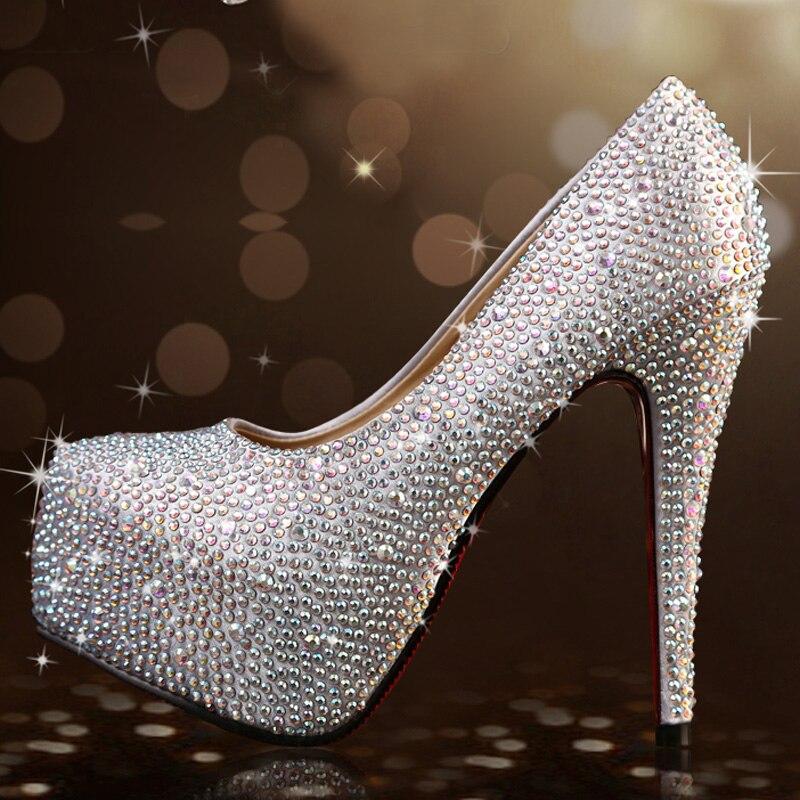 Bling Women Pumps Silver Rhinestone Wedding Shoes Ultra high heels Rhinestone Woman crystal platform Party Shoes