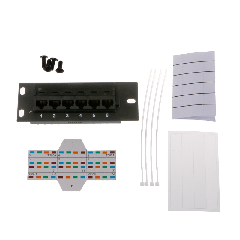 6 Port CAT5 CAT5E Patch Panel RJ45 Networking Wall Mount Rack Mount Bracket