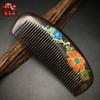 TOP END Authentic Natural CHACATE PRETO wooden comb high quality hand painted art fine tooth bag comb 237
