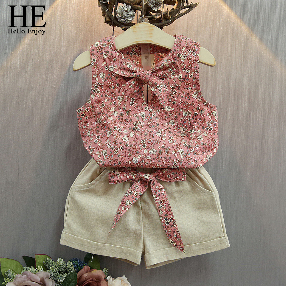 HE Hello Enjoy Baby Girl Clothes Fashion Girls Summer Set Baby Suits Kids Bow Floral T Shirt +Shorts Children Clothing Set 2018 lonsant new 2018 summer baby girls kids girls love heart bow vest t shirt bow plaid shorts set sleeveless round neck clothing