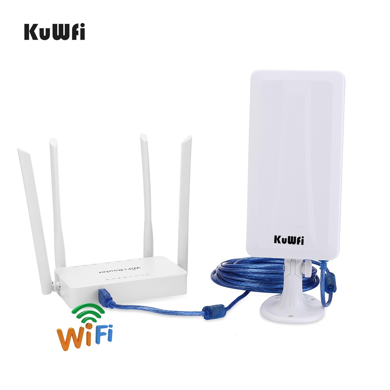 Routeur sans fil KuWFi 300mbps + adaptateur Wifi USB haut Gain 300Mbps routeur Wifi haute puissance un ensemble étendre le Signal Wifi partager 32 utilisateurs - 5