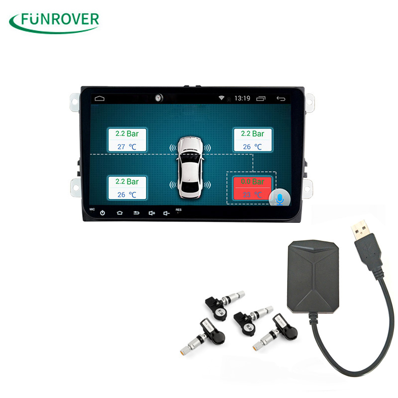 Car TPMS Android Funrover For DVD Player Monitor Wireless Tire Pressure Monitoring System with 4 Internal Tyre Sensors jasco usb tpms auto alarm system with 4 internal sensors wireless tire pressure monitoring for iphone android car player