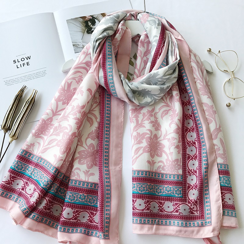 Women Fashion Ombre Floral Tassel Viscose Shawl Autumn Winter   Scarves   and   Wraps   Bandana Towel Muslim Hijab Echarpe Foulard Femme