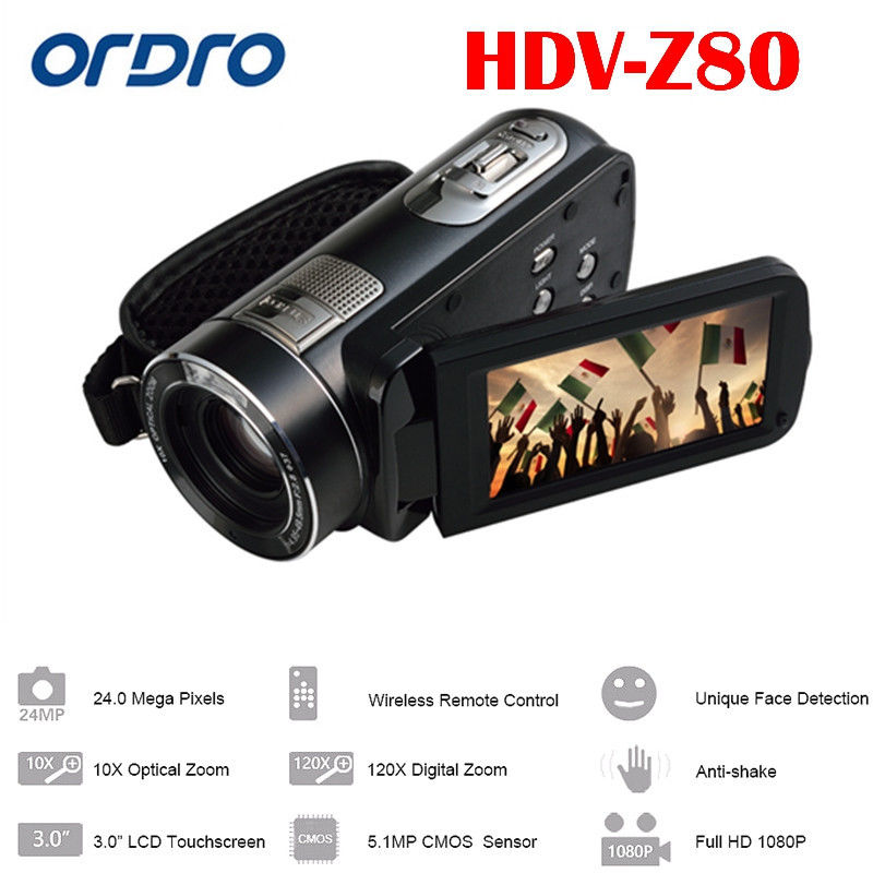 ORDRO HDV-Z80 Digital Video Camera 24MP 1080P 10X Optical Zoom Cmos Anti-shake 3.0inch Touch Screen dc v100 15mp cmos digital camera w 5x optical zoom 4x digital zoom sd slot pink 2 7 tft