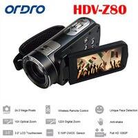Ordro hdv z80 цифрового видео Камера 24mp 1080 P 10x Оптический зум CMOS Anti Shake 3.0 дюйма Сенсорный экран