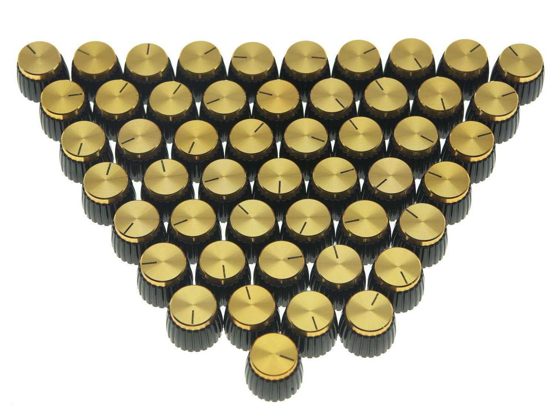 KAISH 50x Guitar AMP Amplifier Knobs Black w/ Gold Cap Push on Knob fits Marshall AMPKAISH 50x Guitar AMP Amplifier Knobs Black w/ Gold Cap Push on Knob fits Marshall AMP