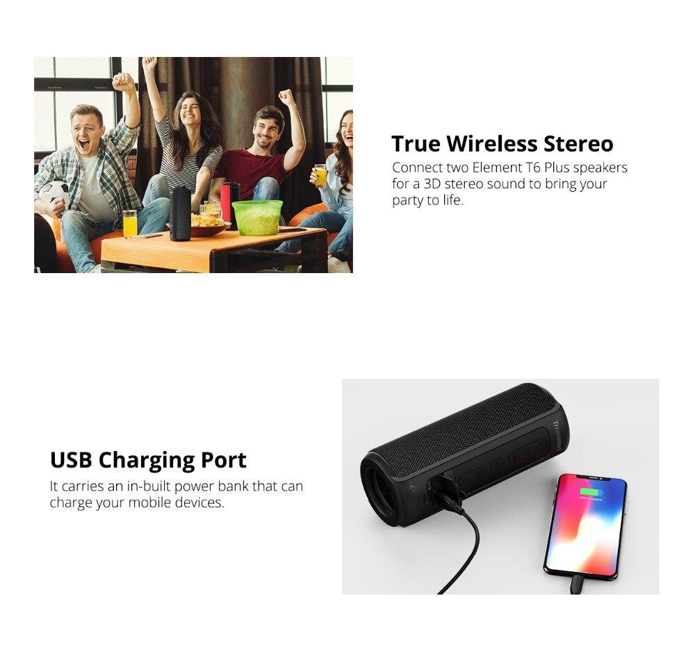 Tronsmart T6 Plus Bluetooth Speaker 40W Portable Speaker Deep Bass Soundbar with IPX6 Waterproof, Power Bank Function SoundPulse_07