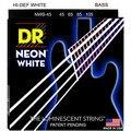 Dr k3 hi-def neon branco luminescente baixo cordas de guitarra, luz 40-100 ou médio 45-105 ou 5 cordas 45-125