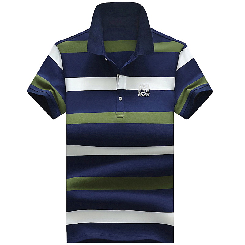 Grandwish Men Summer Polo Shirt Brand Men's Fashion Short Sleeve Polo Shirts Male Breathable Striped Slim Fit Polos Tops ,GA186