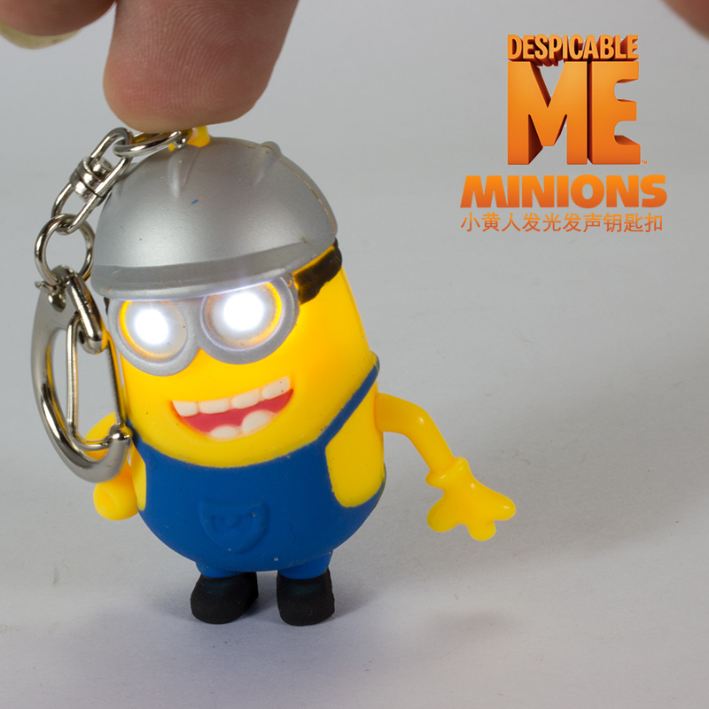 New arrive 3D LED Keychain talk minions Absenteeism Despicable me Sound Keychains with LED flashlight and sound image