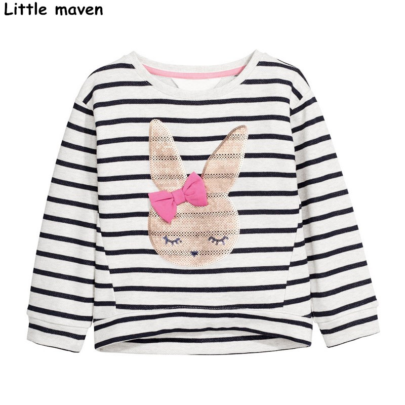 Little maven brand children 2018 autumn new girls clothes cotton long sleeve rabbit tee tops O-neck striped bunny t shirt C0061 стоимость