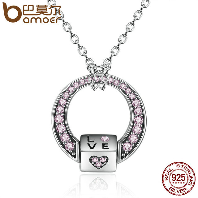 Sterling Silver Pink CZ Love Heart Pendants Necklaces