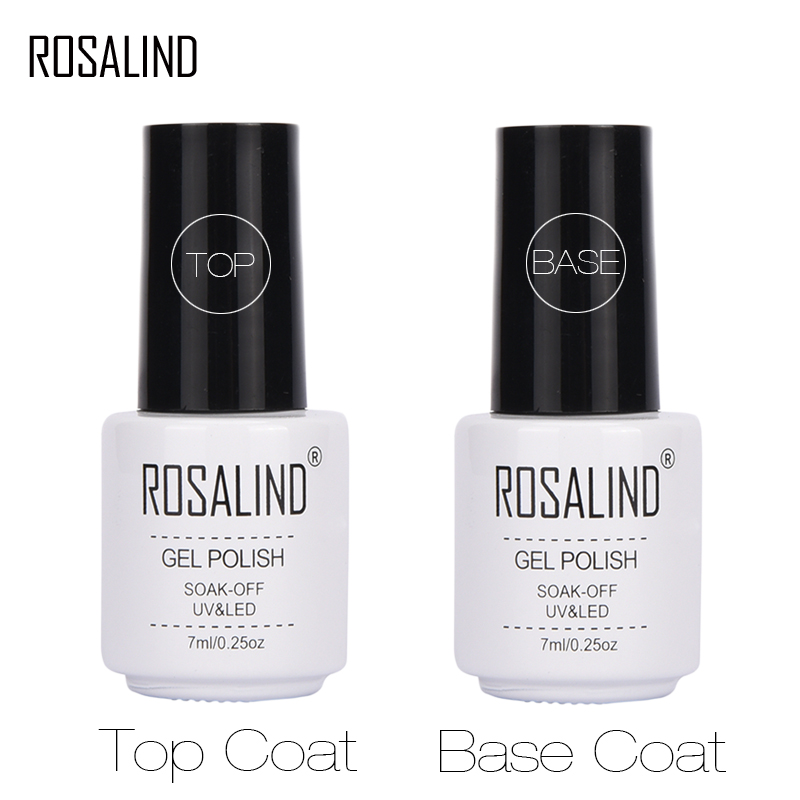 ROSALIND 7ML Base&Top Gel Nail Polish Semi Permanent Tempered Top Rein Force Rubber Gel For Nail Art Manicure Gel Varnishes