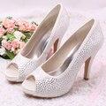 Wedopus Personalizado Rhinestone Diamante Do Marfim Casamento Sapatos de Salto Plataforma 10 cm Salto