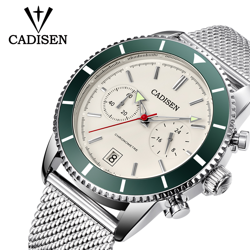 Mens Watches CADISEN Top Brand Luxury Waterproof Wrist Watches Stainless steel Date Simple Casual Quartz Watch