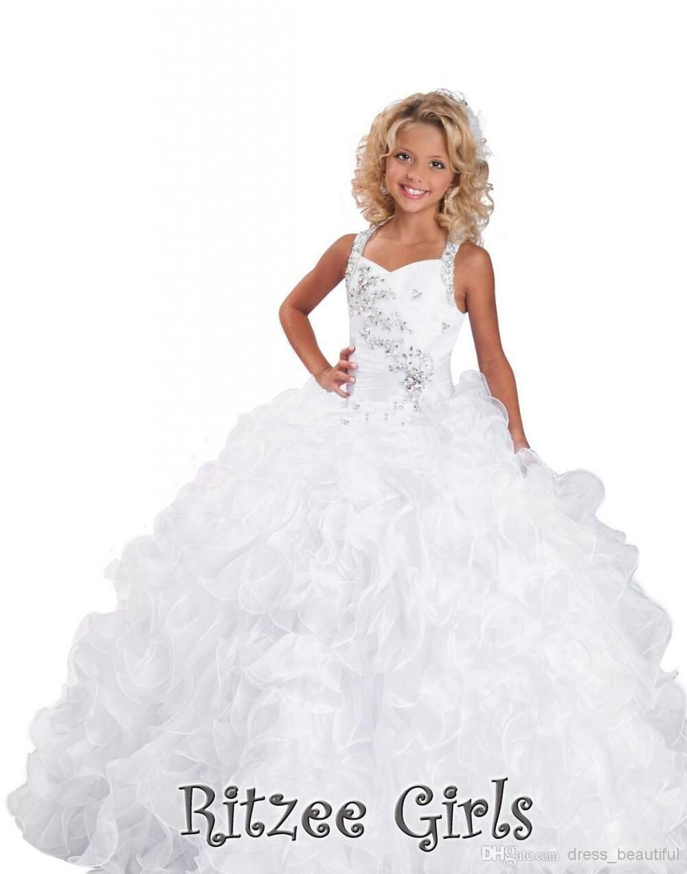 New Gorgeous Beaded Kids Little   Girl   Pageant   Dress   Ball Gowns Halter Appliques Party gown White   Flower     Girl     Dresses   2015