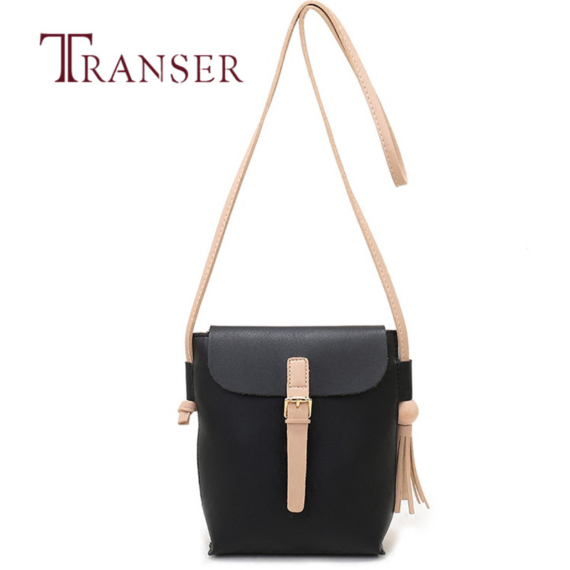 TRANSER Leather Women Fashion Fashion Solid Leather Tassels Handbag Cross Body Single Shoulder Phone Bag High Quality B27 30