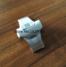 Reloj 22 mm plata pulsador doble dobla la mariposa del reloj de despliegue bandas correa cierre broche
