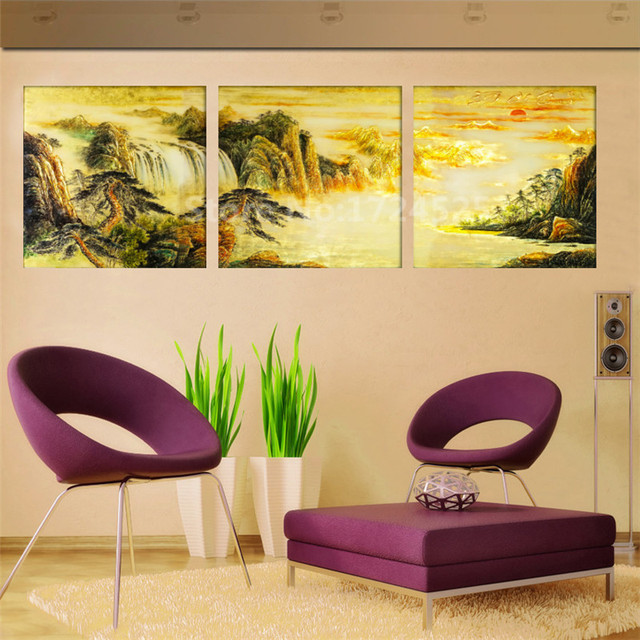 Prints Abstract 3 Pieces Landscape Painting Mountains Canvas ...