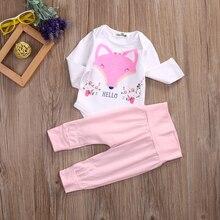 Pink Fox Long Sleeve Cotton Romper Bodysuit + Pant Trouser 2PCS Outfit