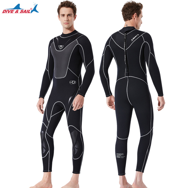 Men's 3MM wetsuit One Piece Full Body Jumpsuit Diving BodySuit Long Sleeve Spearfishing Swim Surfing WetSuits winter swimsuit