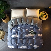 New A B Side Clouds Bedding Single Double Twi Queen King Blue Duvet Cover Quilt Cover Cotton+Crystal Flannel 1 pcs Bedclothes
