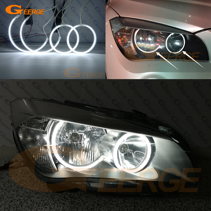 For BMW X1 E84 2010 2011 2012 2013 2014 Halogen headlight Perfectly compatible Ultra bright CCFL Angel Eyes kit halo rings free shipping super bright ccfl angel eyes halo rings kit for bmw e83 x3 auto headlight 4 rings 2 waterproof inverters page 7