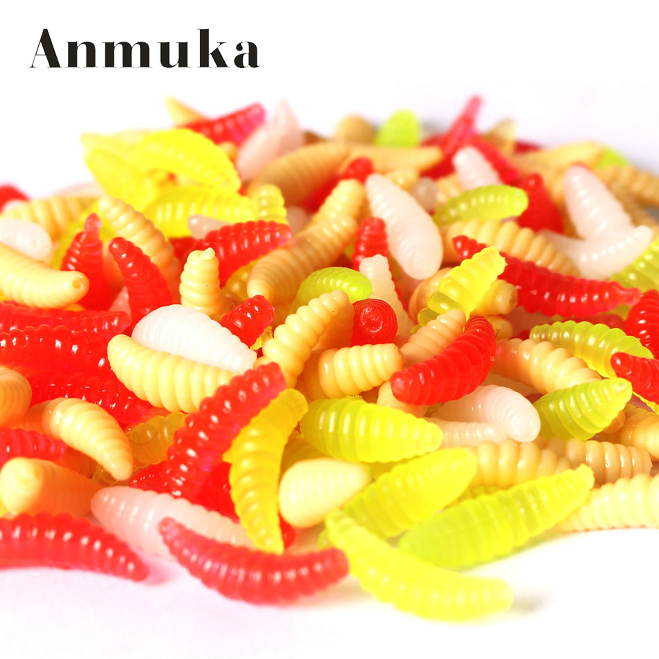 20 pcs 2cm 0.3g maggot Grub Soft Lure Protein Soft Bait Worm Fishing Lures 5 colors for choice
