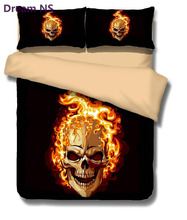 Dream NS 3D Skulls Bedding Set Super King Queen Size Spring Bed Linen / Bed Sheet Set (1pcs Quilt + Pillow covers 2 Pcs) Bed set