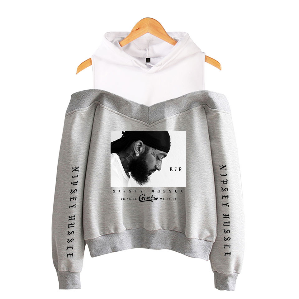 Nipsey Hussle Occident Off-Shoulder Hoodies Sweatshirt Fashion Casual Comfortable Basic High Street Women Sexy Hoodies Women