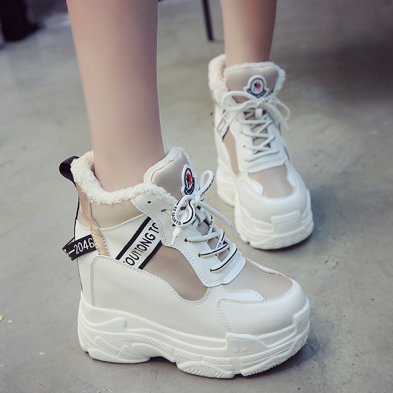 2018 New Winter Women Ankle Boots 11CM Heels High Top Wedge Boots Warm Fur Platform Leather Sneakers Cotton Snow Boots For Woman in Ankle Boots from Shoes
