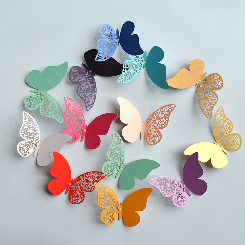12pcs Half Hollow 3D Butterfly Wall Sticker For Wedding Home Decoration Butterflies On The Wall Rooms Decor Multicolor Stickers
