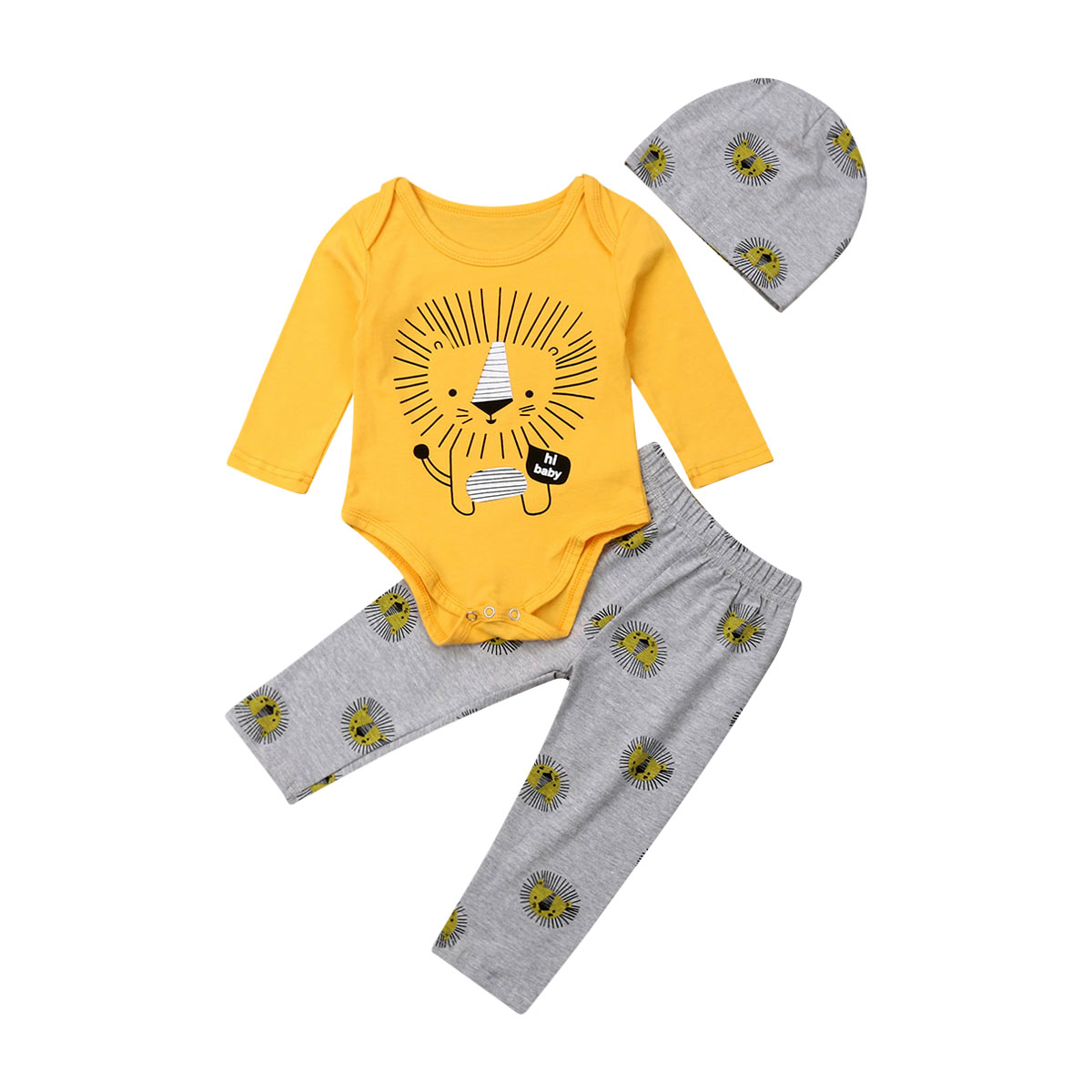 2019 New Autumn Kids Baby Clothes Boy Lion King Print Long Sleeve Tops Romper Pants Hat 3PCS Casual Clothes Cartoon 0-3 Years