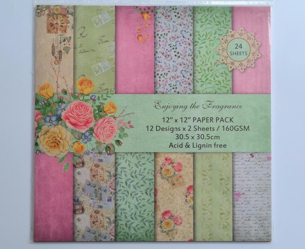 DIY Album Photo Scrapbooking set Flower  Decorative Papers Craft paper  12inch X 12 inch  Single Side Printed 24 pcs/Set