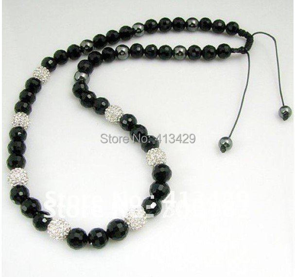 Free shipping Fashion Long Shamballa Rosary  Men's Necklace Crystal and Black Beads New