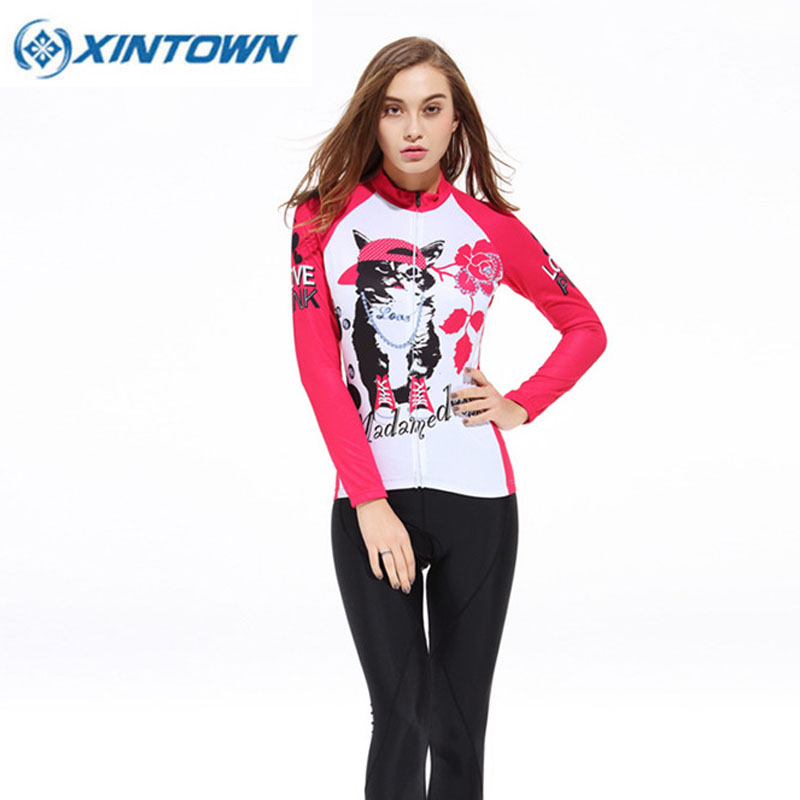 XINTOWN Autumn Long Sleeve Women Cycling jersey Sets Sportswear Ropa Ciclismo MTB Bike Bicycle 3D Gel Padded Cycling Clothing