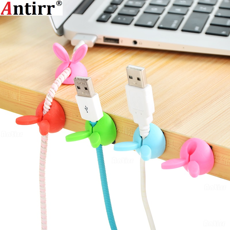 Digital Cables 4pcs Cute Rabbit Ears Cable Winder Collation Holder Bunny Charger Wire Cord Organizer Clip Tidy Desk Earphone Fixer Bobbin Clamp Consumer Electronics