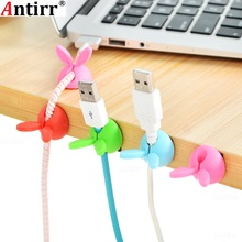 4pcs Cute Rabbit Ears Cable Winder Collation Holder Bunny Charger Wire Cord Organizer Clip Tidy Desk Earphone fixer bobbin clamp